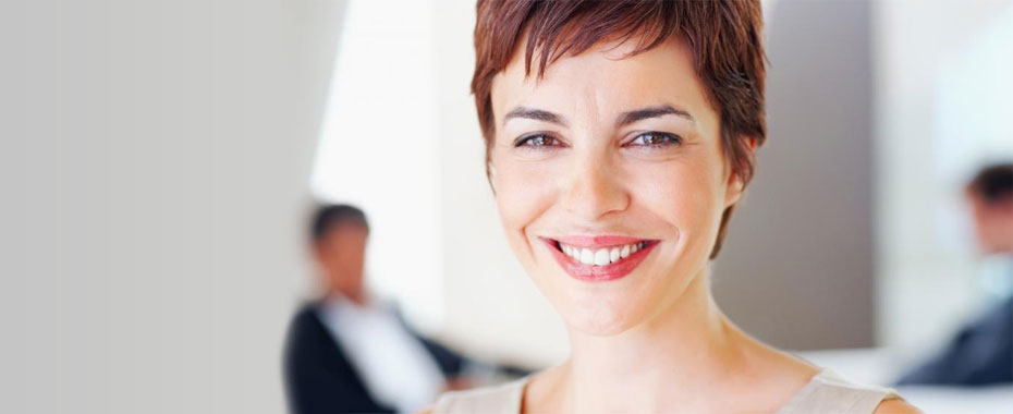 Inlays Raleigh Onlays Smiling Woman with Red, Short Hair